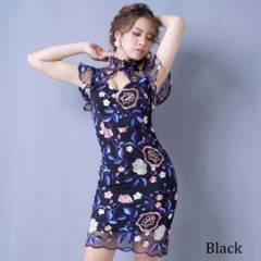 フラワー刺繍レースミニドレス パーティードレス キャバ チャムドレス