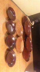 骨董。漆器の銘々皿を二種類9点と、茶托を二点。