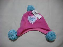 wb11 ROXY ロキシー 耳当て ボンボン付き ニット帽 ピンク