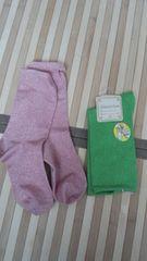 靴下2足セットピンクと黄緑ラメ入り