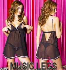 A044)LA発MUSICLEGSラインストーン付ベビードール&ショーツ2点セット黒ピンクB系ドレス