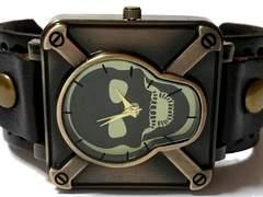 【送料無料】新品★レロジオ【ドクロ】極太レザー腕時計