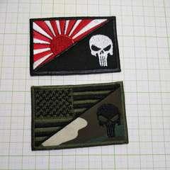 NO.243 アイロンワッペン パッチ 旗 ドクロ アメリカ 日本