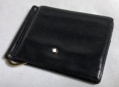 正規レア モンブランMONTBLANC レザーマネークリップ黒 財布 ウォレット カードケース