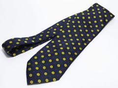 美品 Burberrys バーバリー ネクタイ 紺×黄色 ドット柄 シルク