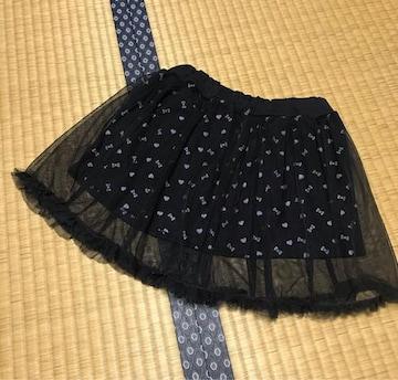美品 キッズ スカート チュールスカート 黒 110