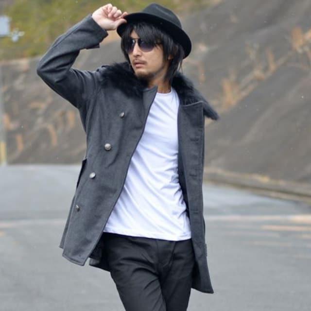 リアルファーメルトンウールトレンチコート33a3012新品グレーL  < 男性ファッションの