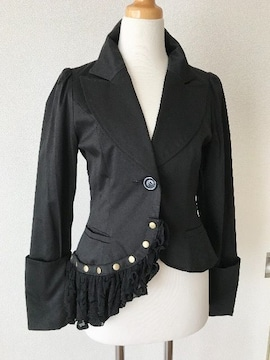 [BLACK PEACE NOW]★黒色・フリル付きジャケット[M]★