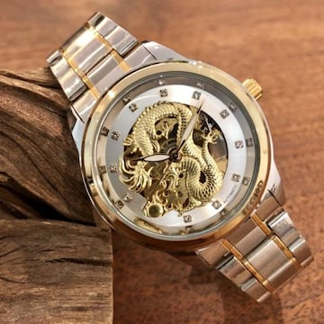 大特価!自動巻きスケルトンタイプ龍デザインメンズ腕時計・シルバー ×コンビ