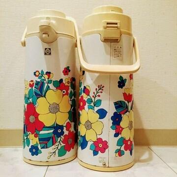 Tigerタイガー/昭和 レトロ 花柄ポット 魔法瓶 日本製!