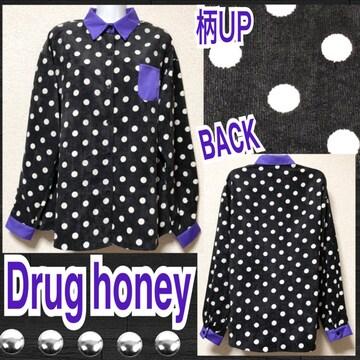 【新品/Drug honey】ドット柄コーデュロイシャツ