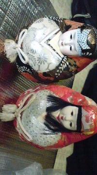 和人形の置物二対セット