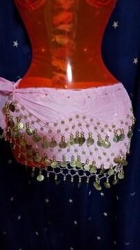 ベリーダンス、シェイプ用ヒップスカーフ、ピンク