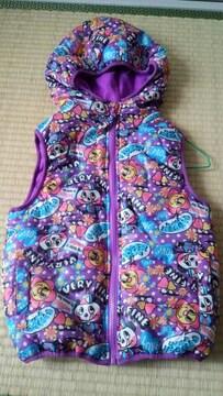 ダウンベスト120★紫パンダ★フリース