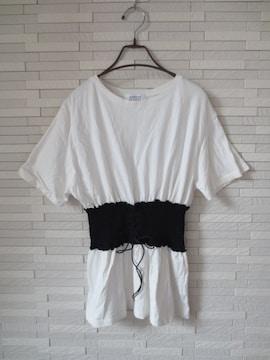 即決/LOWRYS FARM/編み上げベルト半袖カットソーTシャツ/白/L