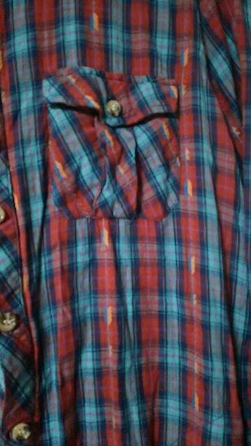 チチカカ☆ブルー☆チェック☆カジュアルシャツ☆size L < ブランドの