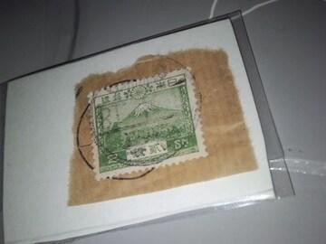 紙付き使用済み 2銭・富士山