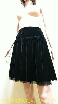 極美品☆L´ESTROSE☆裾ふり�A上品ベロアのミニB79☆3点で即落☆