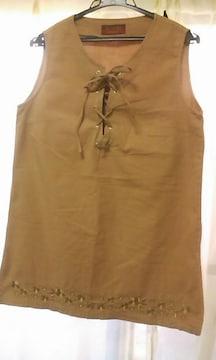 裾刺繍レースアップリボンのノースリーブチュニックL
