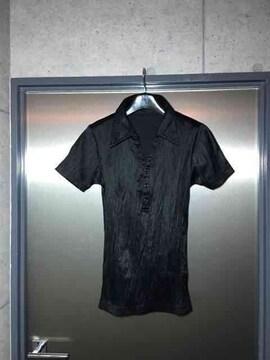5351プールオム/艶々素材シワ加工ポロシャツ/ブラック2