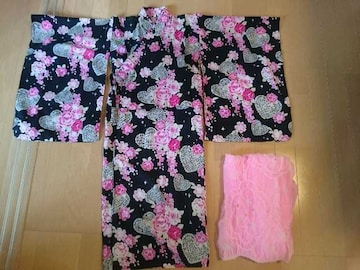 ハート&花柄ピンク×ブラック浴衣&帯♪サイズ130�p/夏祭りに♪マザウェイズ