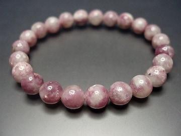 天然石3Aレピドライト薔薇雲母約8.5ミリ数珠ブレス