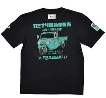 新作/カミナリ雷/Tシャツ/糸目三輪トラック/ネイビー/S/KMT-64/エフ商会/東洋