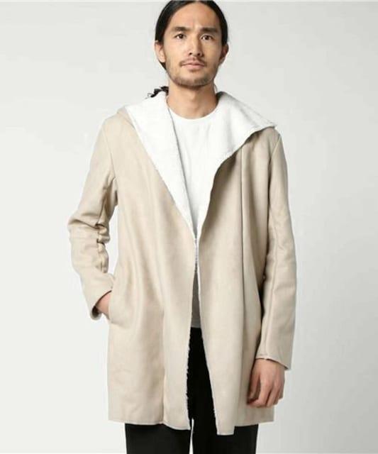 フェイクムートン裏ボアコーディガン コート/BEIGE/M < 男性ファッションの