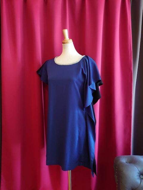 J17188 新品 9号 ドレスワンピース Jewels バイカラー アシメ  < 女性ファッションの