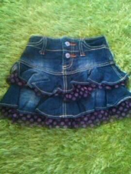 ●DAT● チュール付デニムスカート 110美品