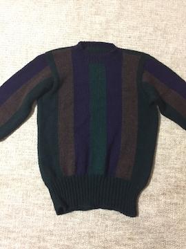 665.編み機☆縦太縞セーター