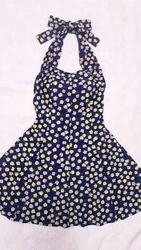 マルチフラワー花柄タンキニホルターリボンフレアチュニックトップスショーツ一体型ワンピース水着〓紺