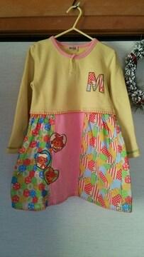 美品★MACCA jeans パッチワ−ク風カラフル ピンクワンピ−ス110