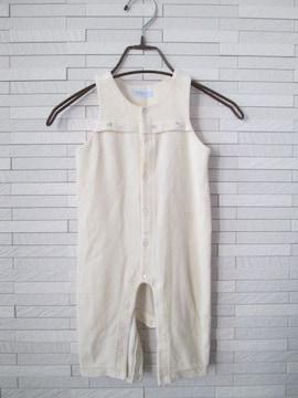 即決/MIKIHOUSE/薄手ベロアオーバーオール/アイボリー/80