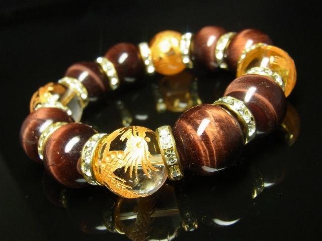 おすすめ 金彫四神獣本水晶×レッドタイガーアイブレスレット 16ミリ < 男性アクセサリー/時計の