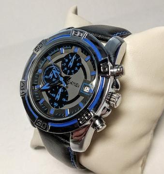 腕時計 SKMEI ブルー 1/10秒 クロノグラフ