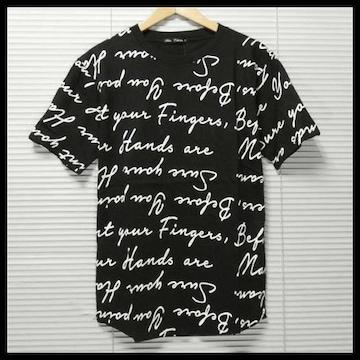 新作英字ロゴ総柄ビッグTシャツ/BLK/L