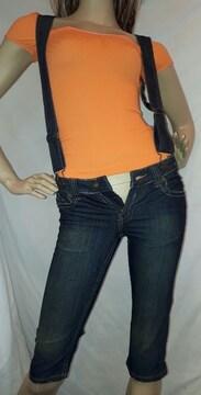 ANAP USA オレンジ 刺繍 デニム  サロペット パンツ