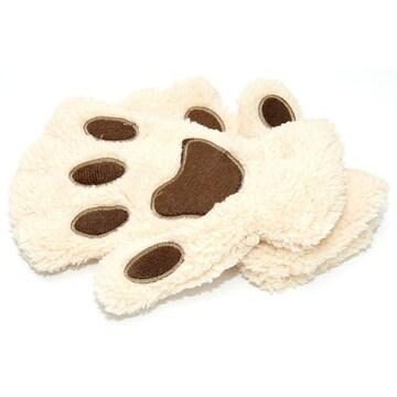 ¢M ふわふわもこもこ かわいい猫の手の手袋 /ベージュ