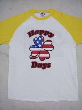 POM(ピースオンマーズ)HappyDaysラグラン七分袖TシャツM