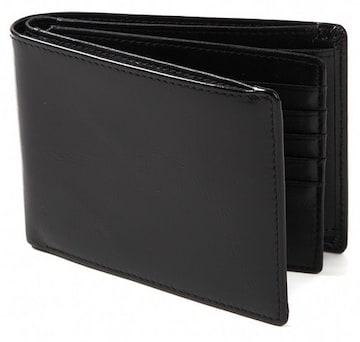 二つ折り財布 財布 本革 牛革 カード15枚収納 ブラック