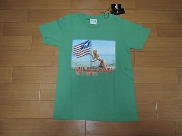 新品TMTカットソーS緑TシャツUSAビーチガールフォト