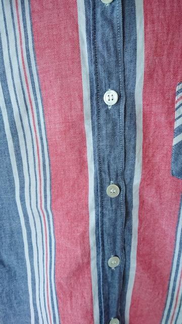 長袖 ストライプ シャツ 赤 タンガリ— 白 140 < キッズ/ベビーの