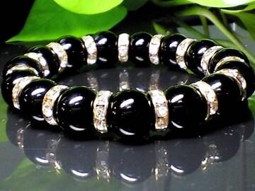 パワーストーン☆天然石!!ブラックオニキス12ミリ数珠ブレスレット§金ロンデル