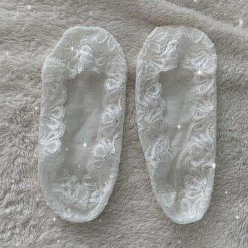 ●レース柄ホワイトのフラットソックス・靴下●
