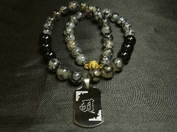 梵字彫ドッグタグ×ブラックオニキス×ドラゴンアゲート数珠ネックレス