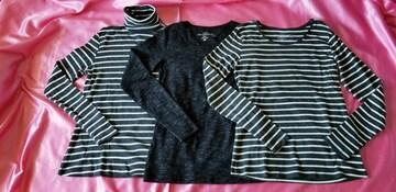 H&Mボーダー杢グレー白&杢黒コットン丸首タートル長袖Tシャツ3枚