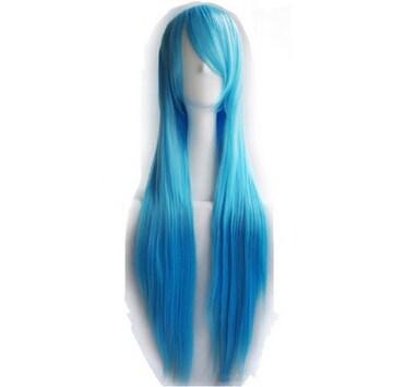 ★ 新品【ブルー】 ウィッグ コスプレ ストレート ロング 100cm