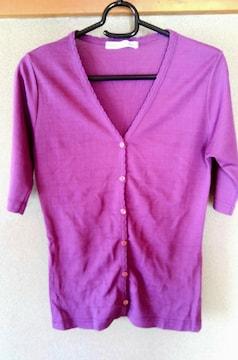 カーディガン M 半袖 夏用 レディース 洋服 パープル 紫 女性