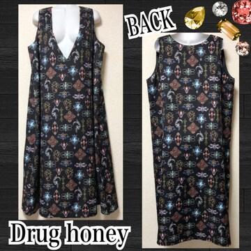 【新品/Drug honey】アンティークブローチ柄ロングワンピ